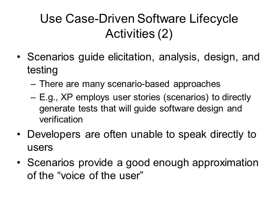 Use Case-Driven Software Lifecycle Activities (2)