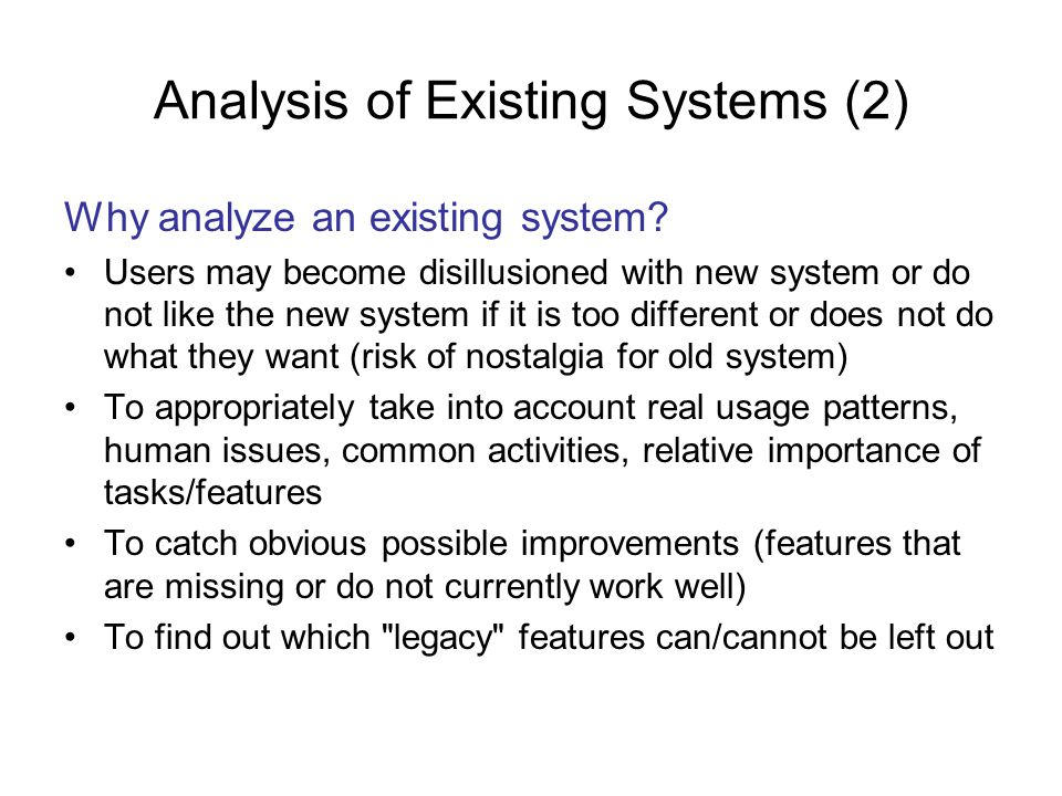 Analysis of Existing Systems (2)