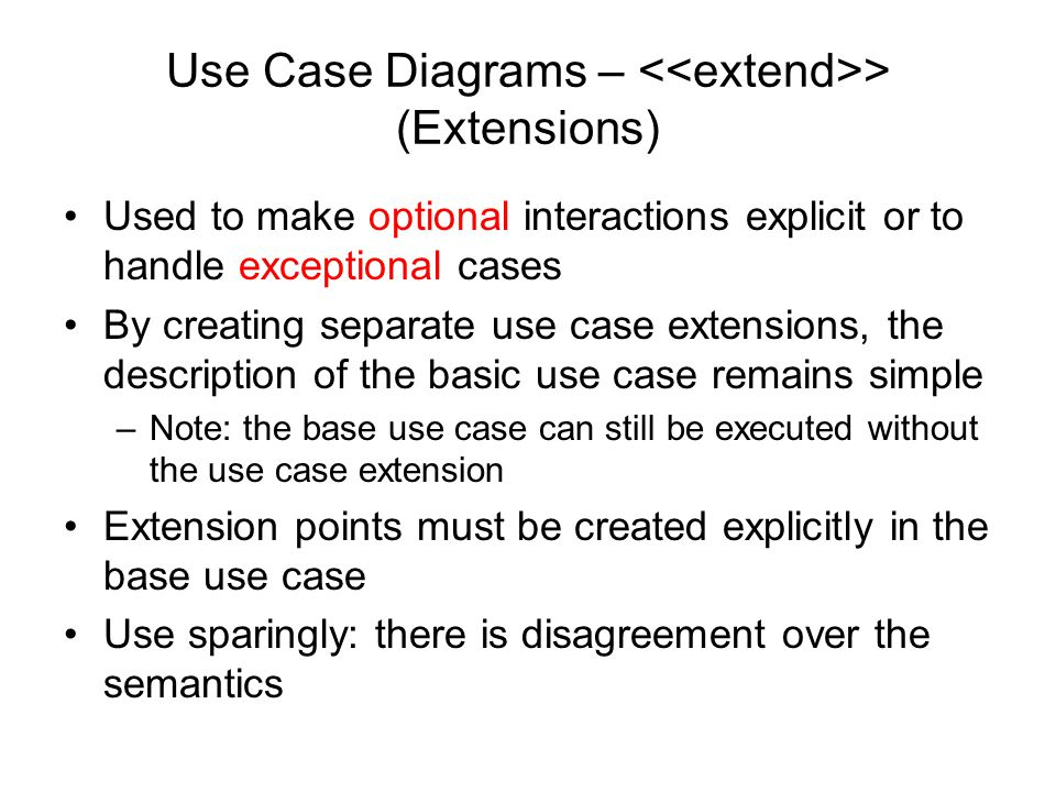 Use Case Diagrams – <<extend>> (Extensions)