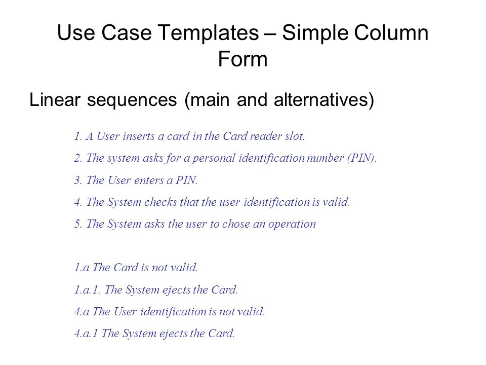 Use Case Templates – Simple Column Form