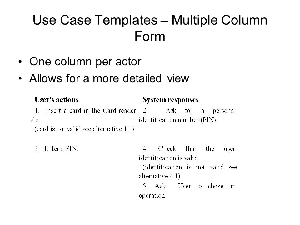 Use Case Templates – Multiple Column Form