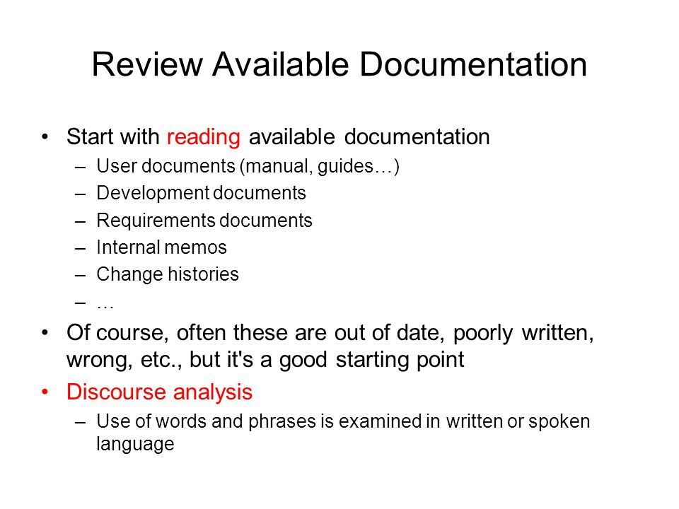 Review Available Documentation