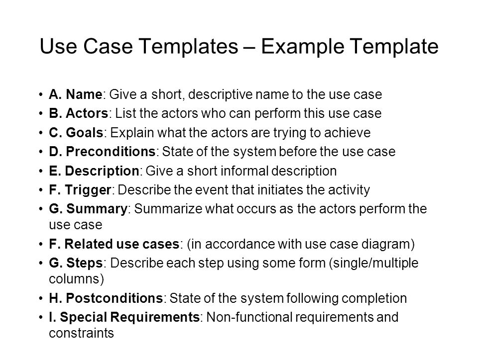 Use Case Templates – Example Template