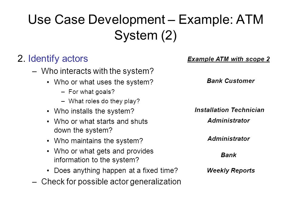 Use Case Development – Example: ATM System (2)