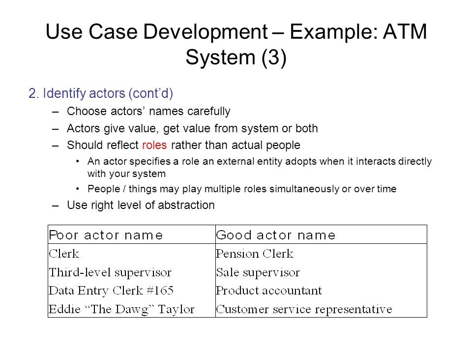 Use Case Development – Example: ATM System (3)