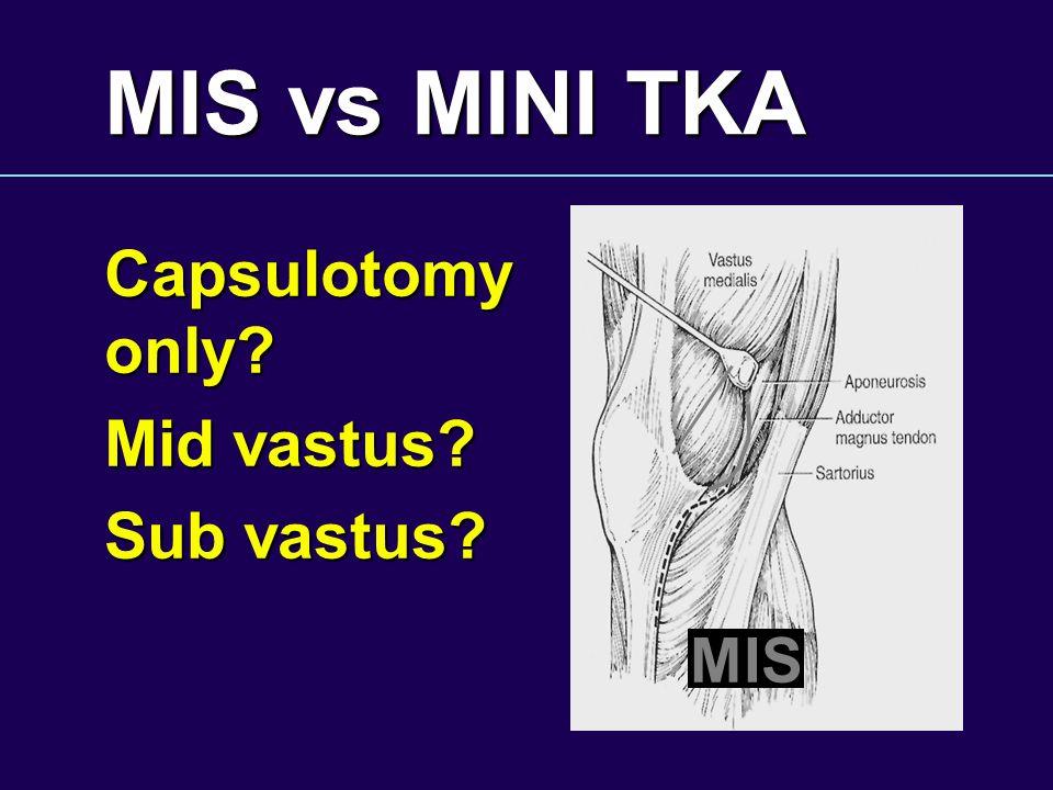 MIS vs MINI TKA Capsulotomy only Mid vastus Sub vastus MIS