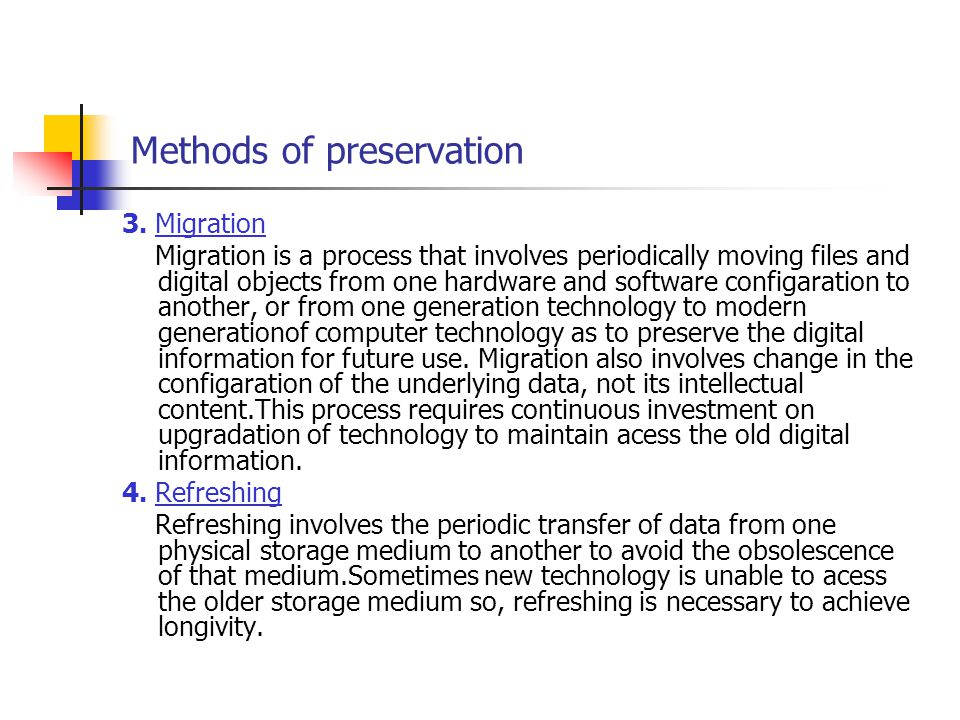 Methods of preservation