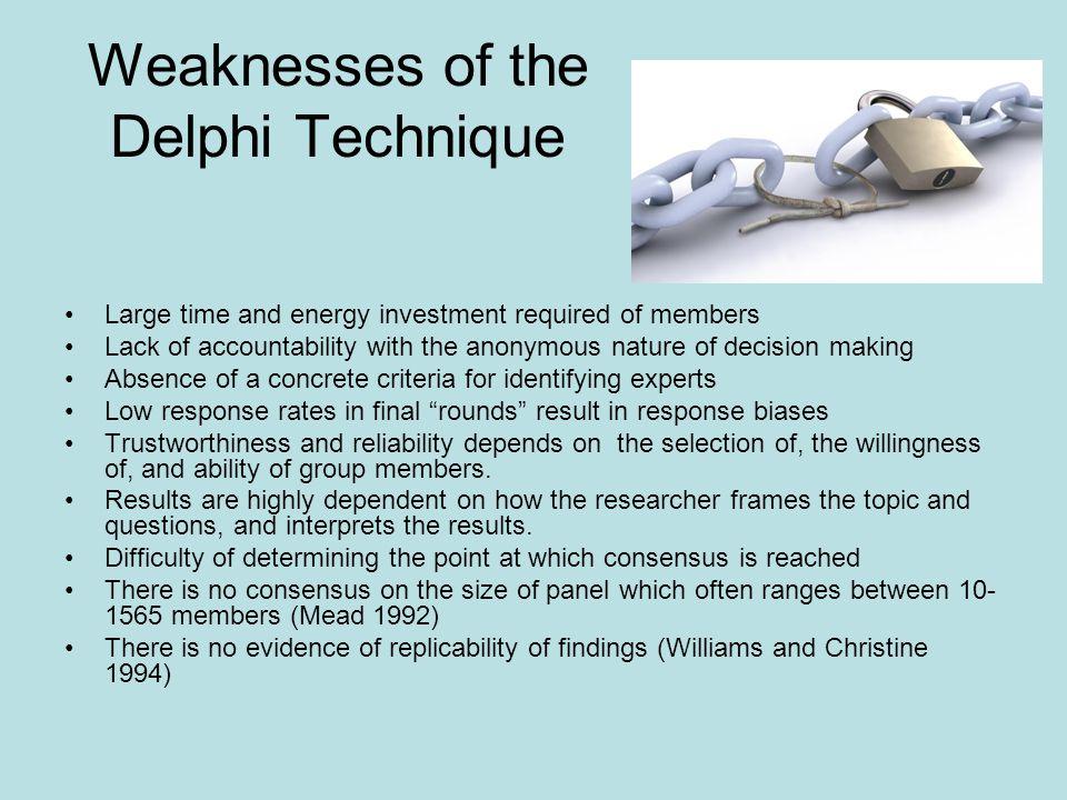 Weaknesses of the Delphi Technique