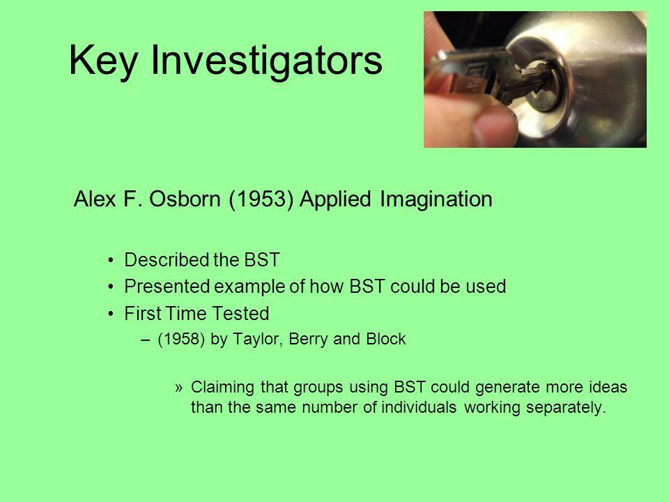 Key Investigators Alex F. Osborn (1953) Applied Imagination