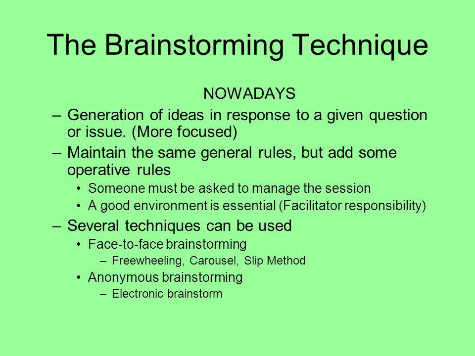 The Brainstorming Technique