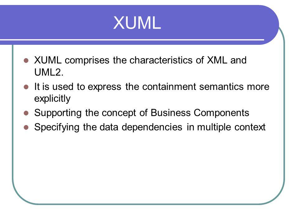 XUML XUML comprises the characteristics of XML and UML2.