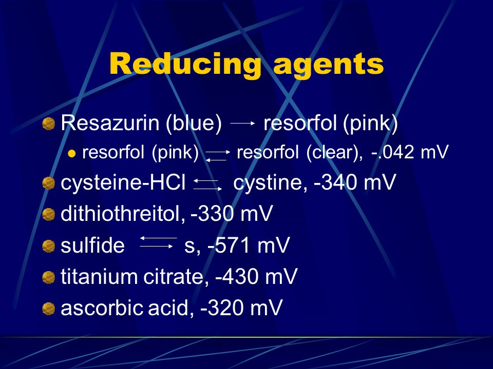 Reducing agents Resazurin (blue) resorfol (pink)