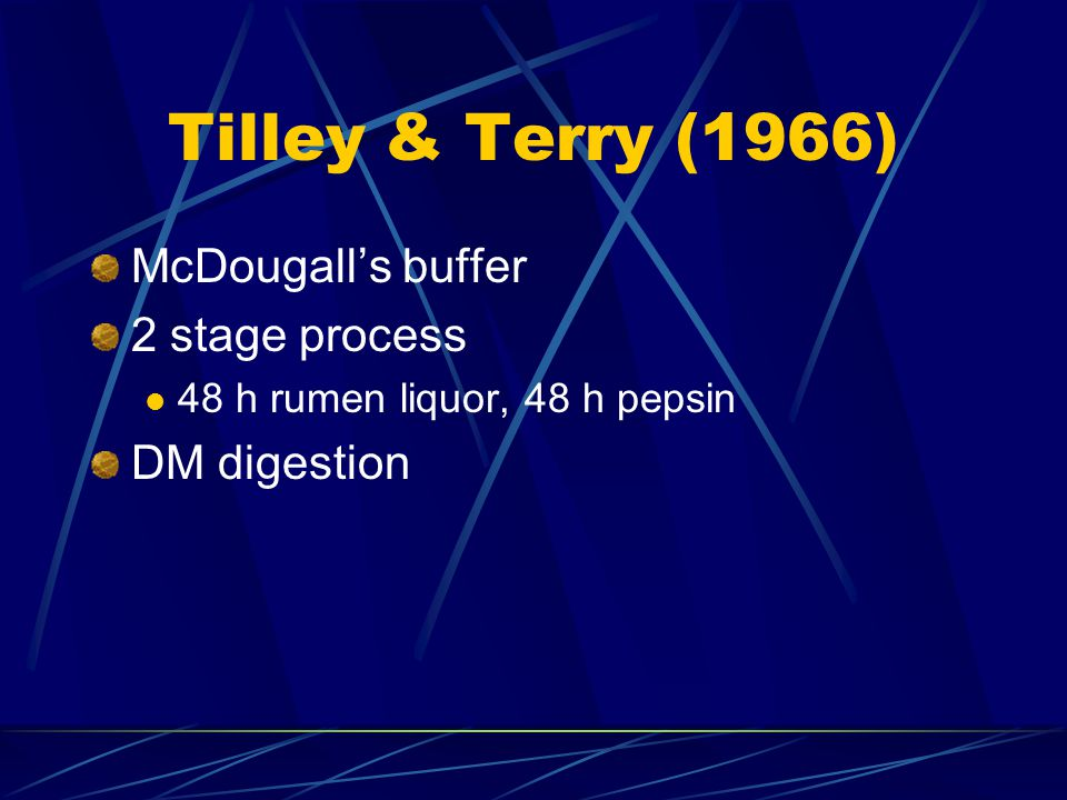 Tilley & Terry (1966) McDougall's buffer 2 stage process DM digestion