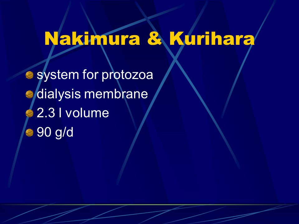 Nakimura & Kurihara system for protozoa dialysis membrane 2.3 l volume
