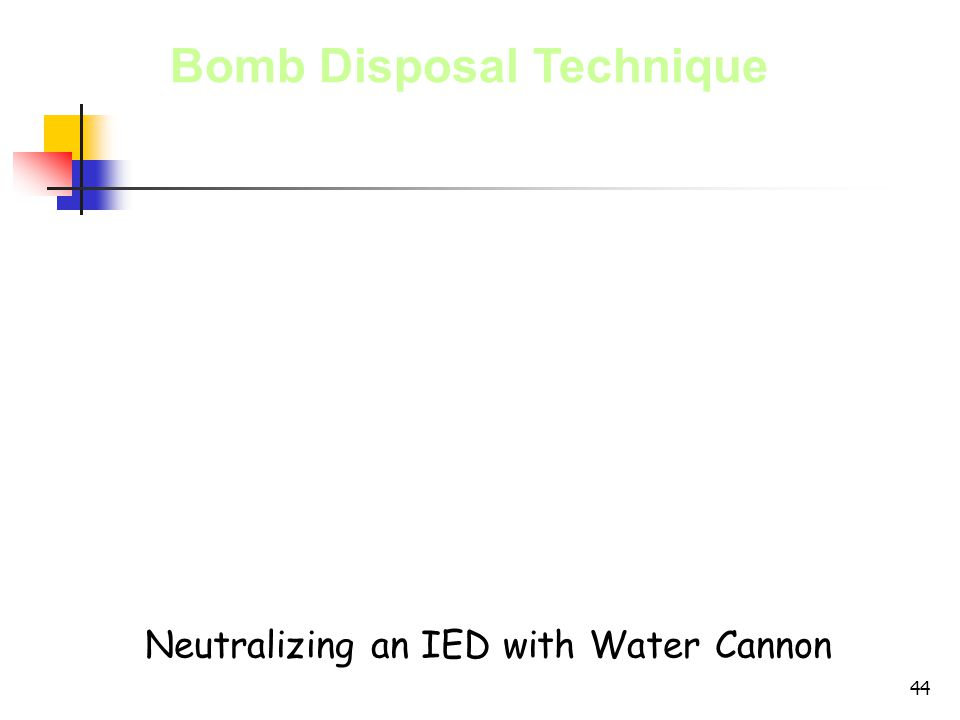 Neutralizing an IED with Water Cannon