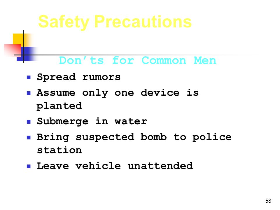 Safety Precautions Don'ts for Common Men Spread rumors