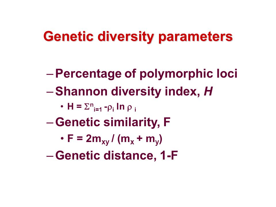 Genetic diversity parameters