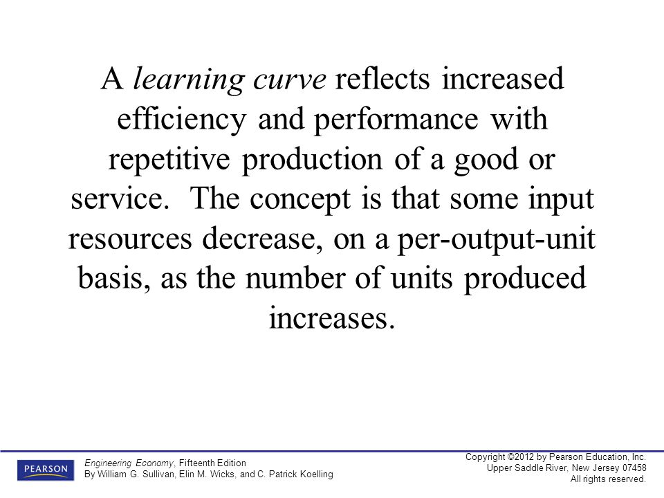 A learning curve reflects increased efficiency and performance with repetitive production of a good or service.