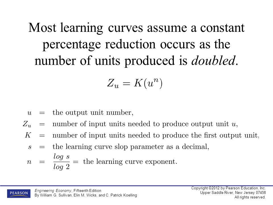 Most learning curves assume a constant percentage reduction occurs as the number of units produced is doubled.