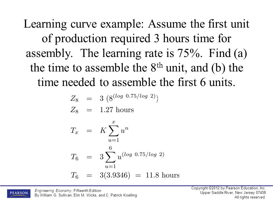 Learning curve example: Assume the first unit of production required 3 hours time for assembly.