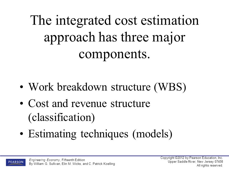 The integrated cost estimation approach has three major components.