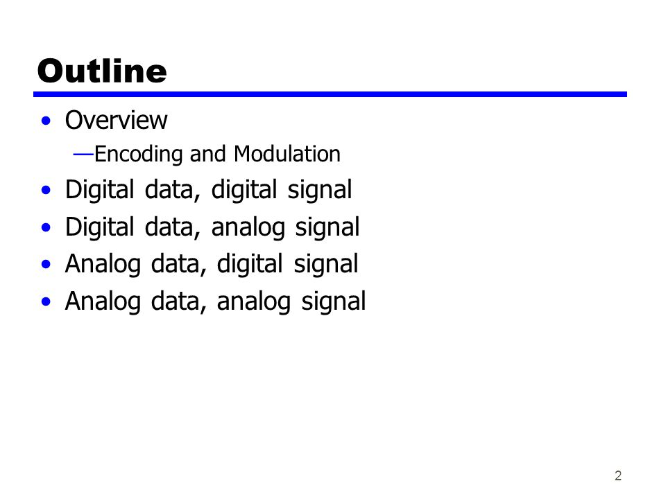 Outline Overview Digital data, digital signal