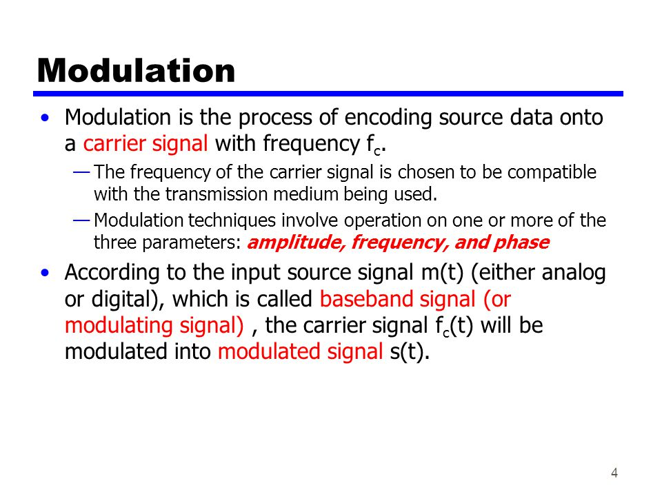 Modulation Modulation is the process of encoding source data onto a carrier signal with frequency fc.