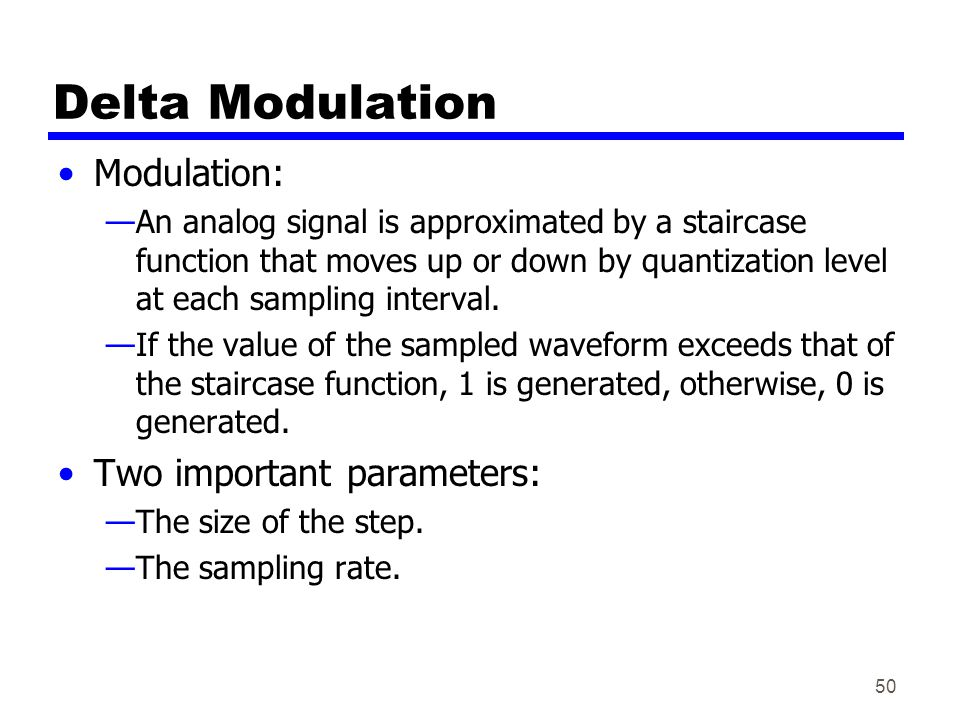 Delta Modulation Modulation: Two important parameters: