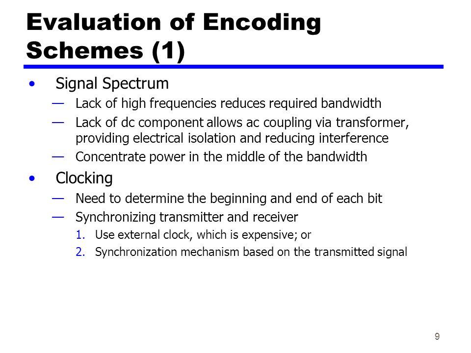 Evaluation of Encoding Schemes (1)