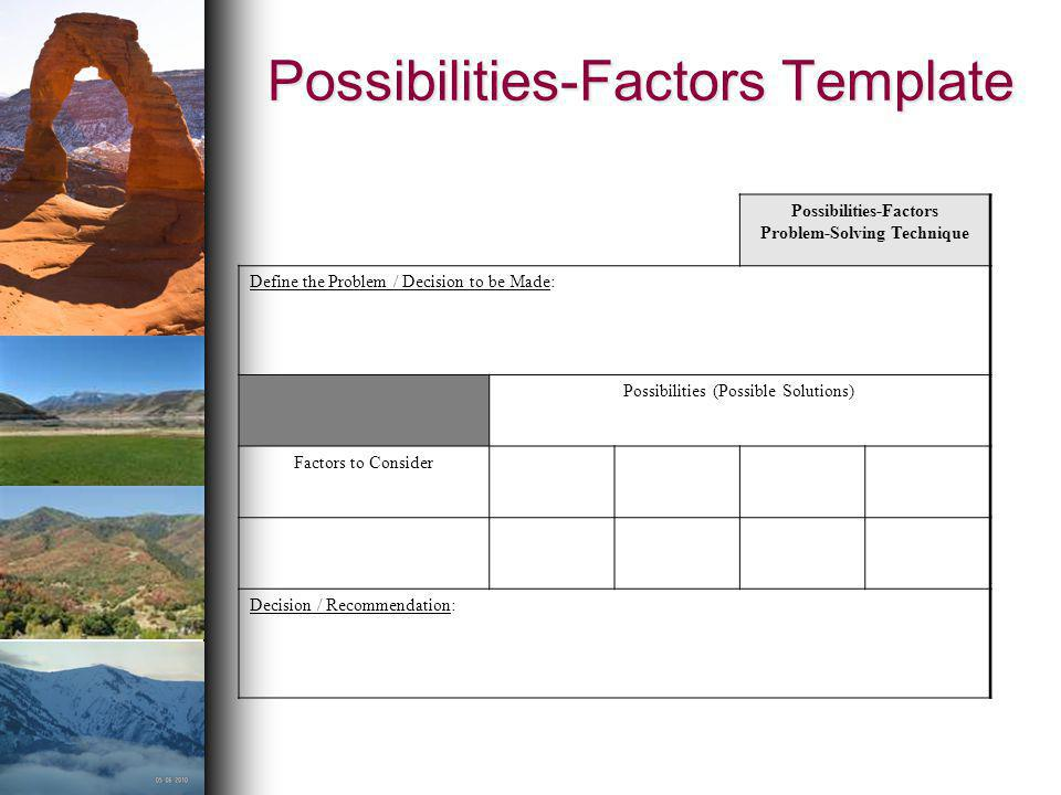 Possibilities-Factors Template