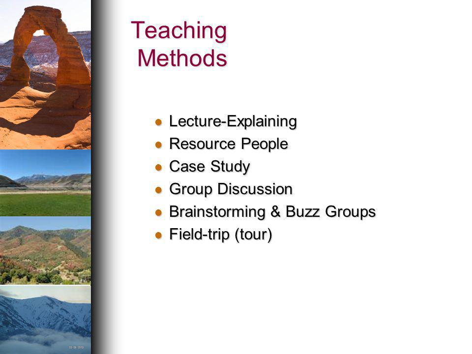 Teaching Methods Lecture-Explaining Resource People Case Study