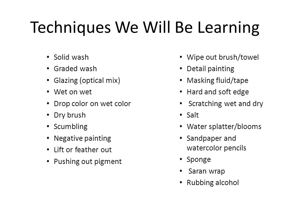 Techniques We Will Be Learning