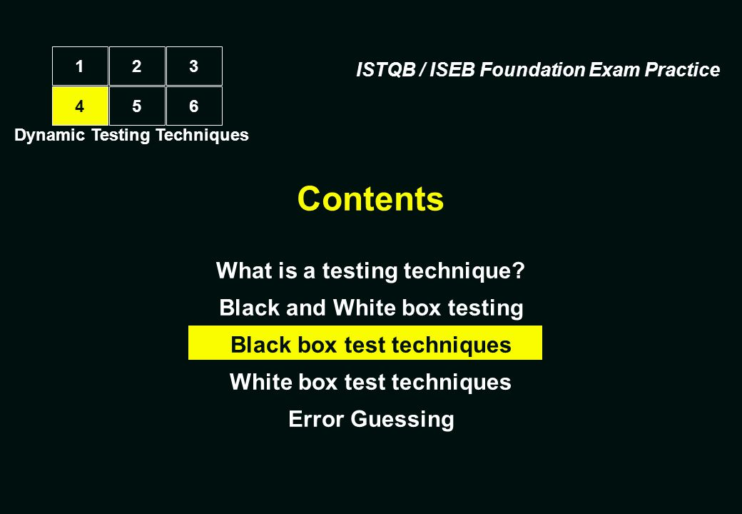 Contents What is a testing technique Black and White box testing