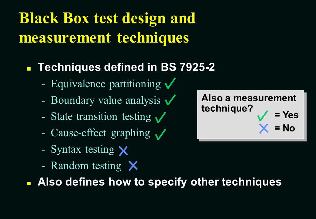 Black Box test design and measurement techniques