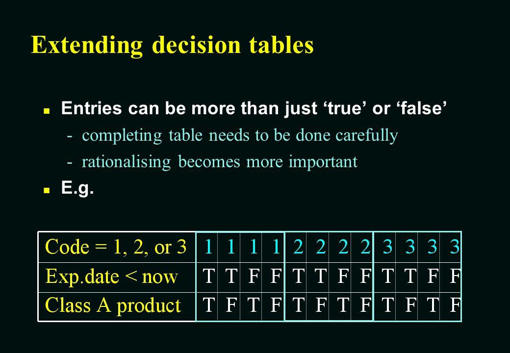 Extending decision tables