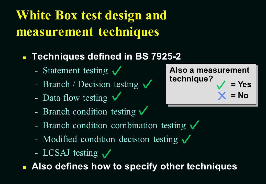 White Box test design and measurement techniques