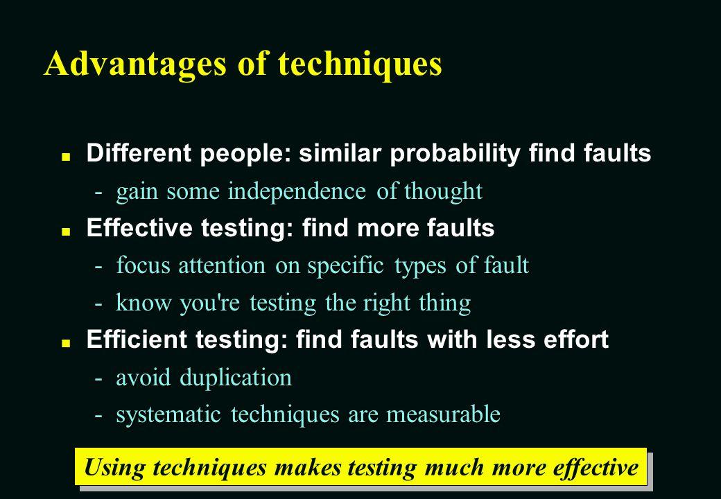 Advantages of techniques