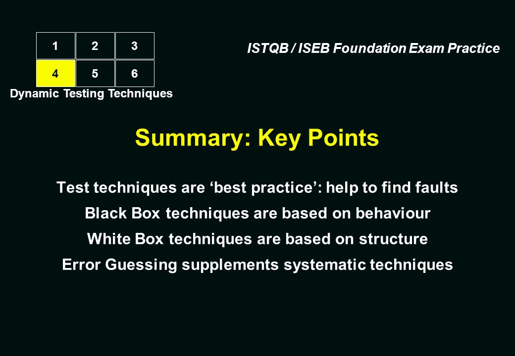 1 2. 3. ISTQB / ISEB Foundation Exam Practice. 4. 5. 6. Dynamic Testing Techniques. Summary: Key Points.