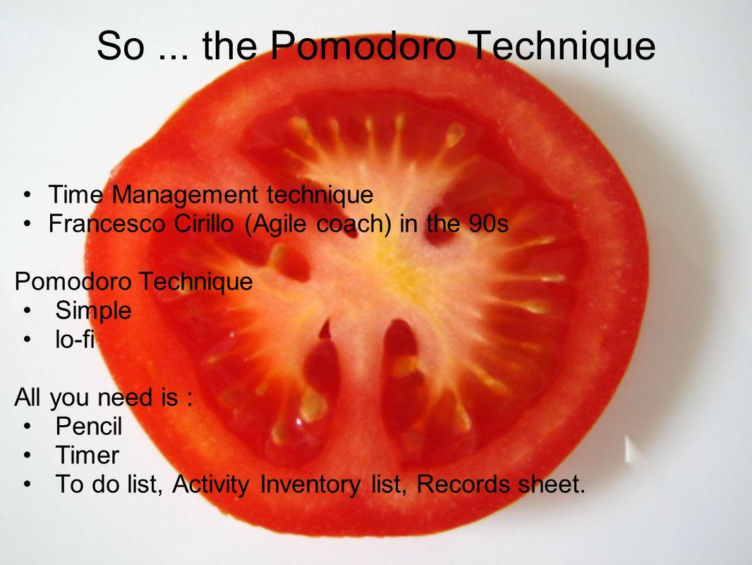 So ... the Pomodoro Technique
