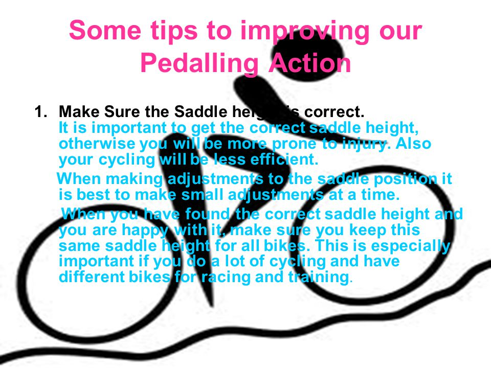 Some tips to improving our Pedalling Action