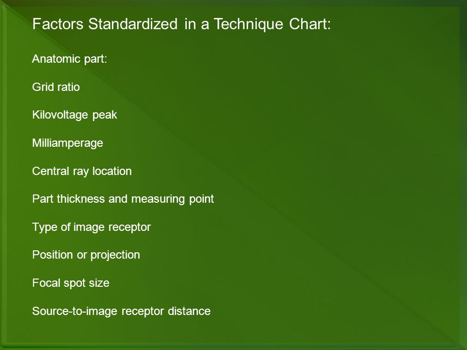 Factors Standardized in a Technique Chart: