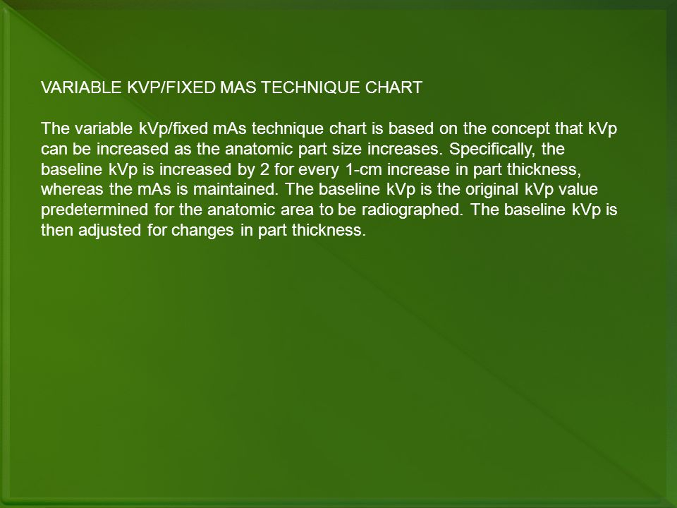 VARIABLE KVP/FIXED MAS TECHNIQUE CHART