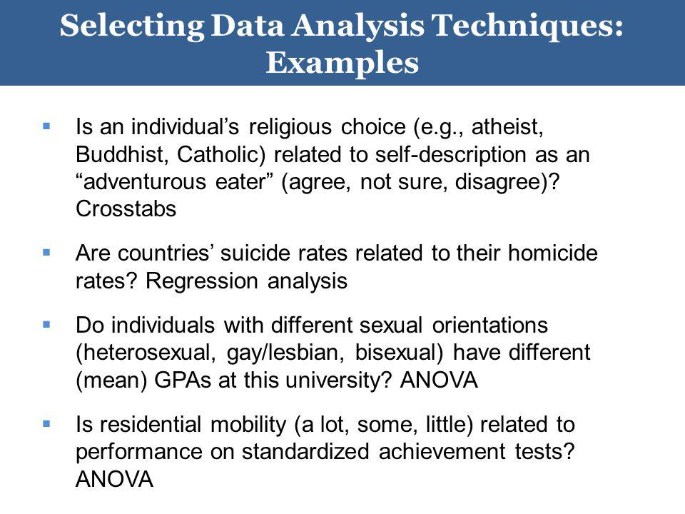 Selecting Data Analysis Techniques: Examples