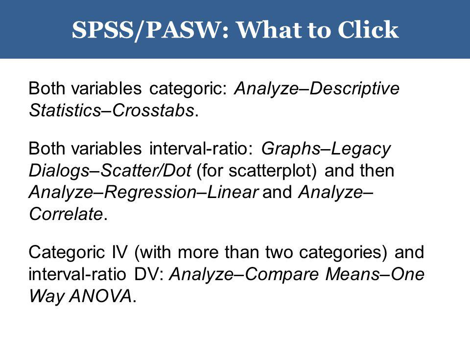 SPSS/PASW: What to Click