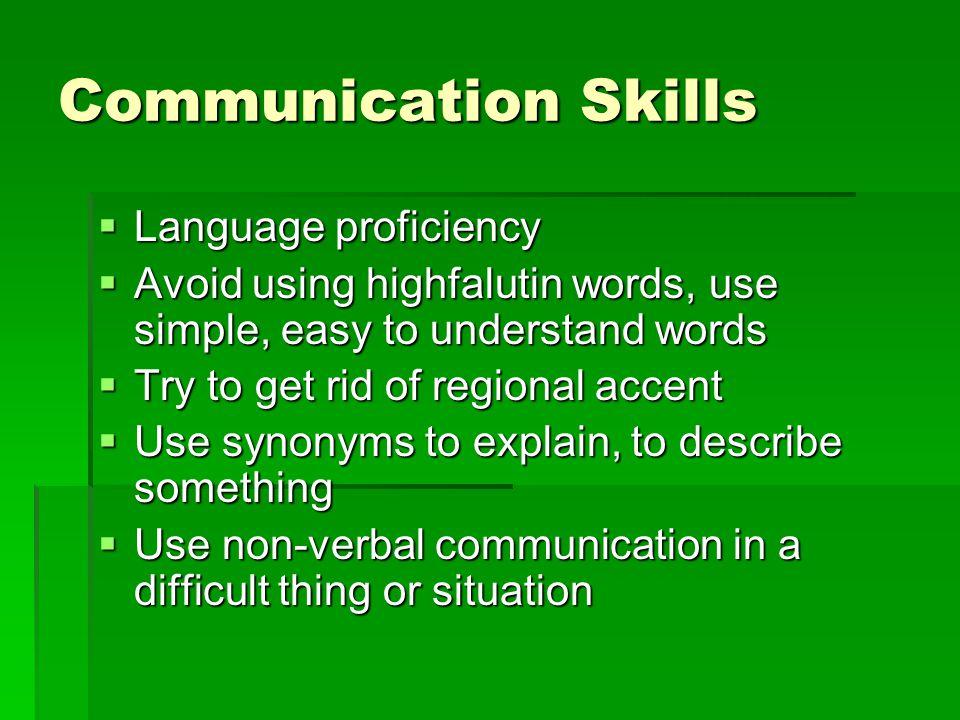 Communication Skills Language proficiency