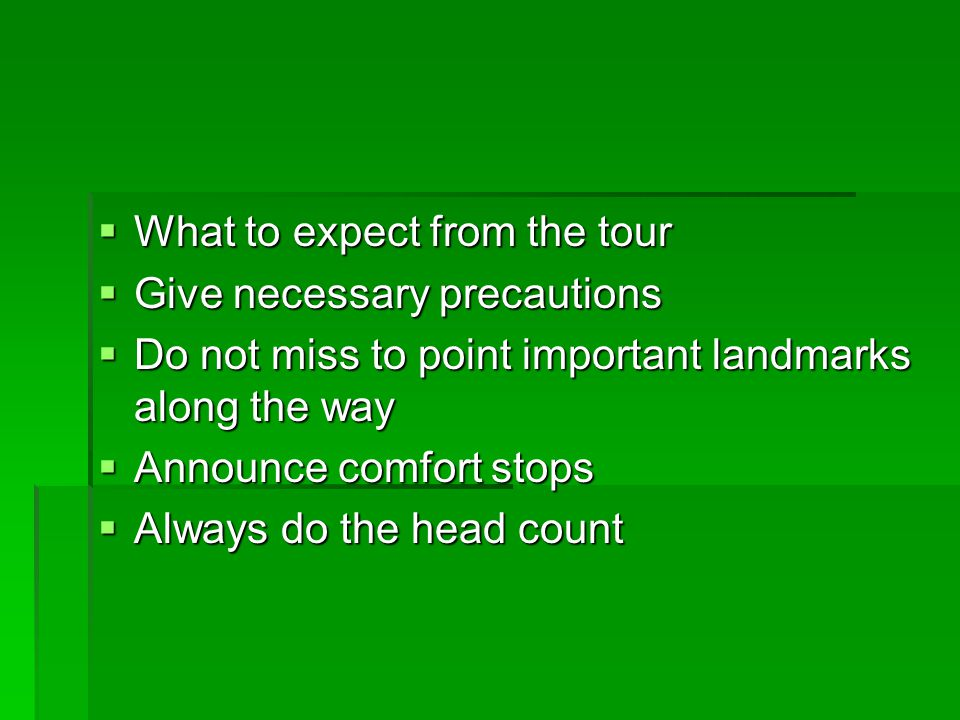 What to expect from the tour