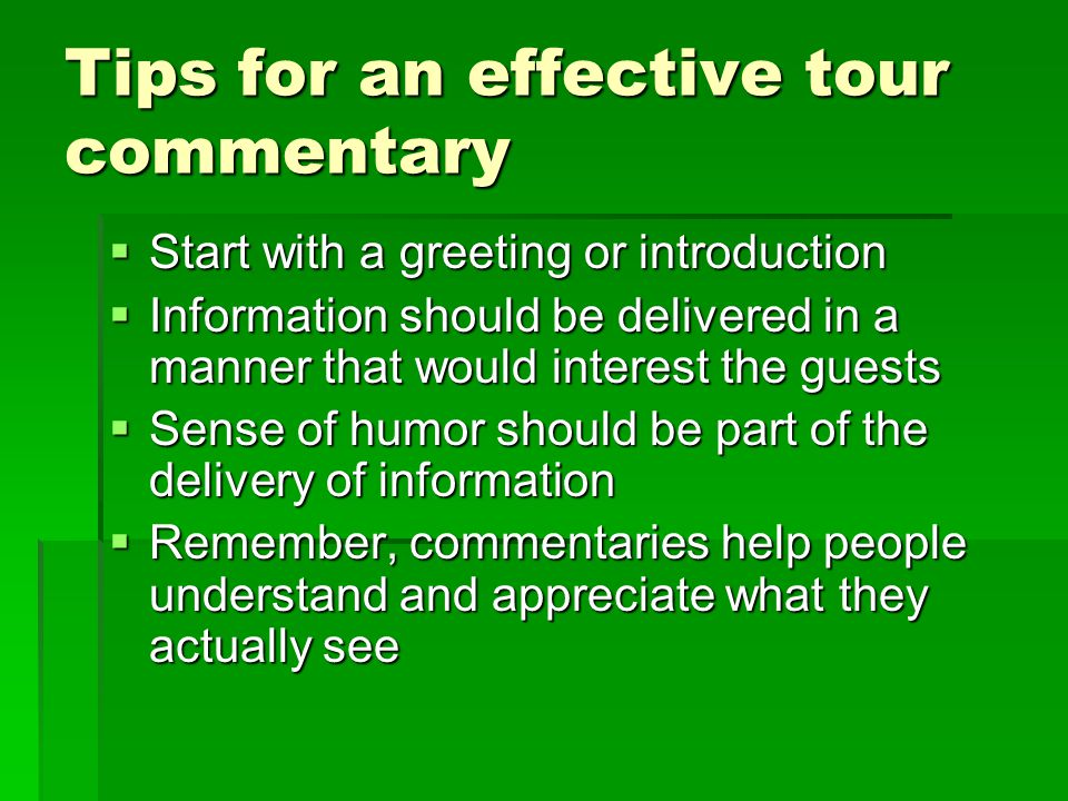 Tips for an effective tour commentary