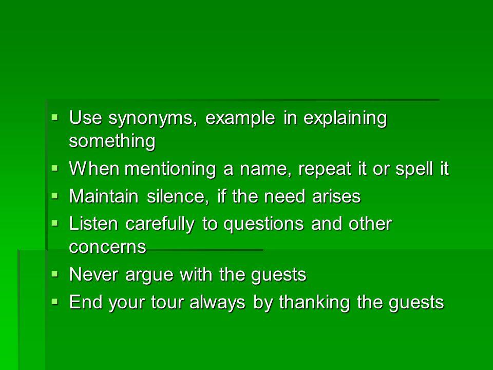 Use synonyms, example in explaining something