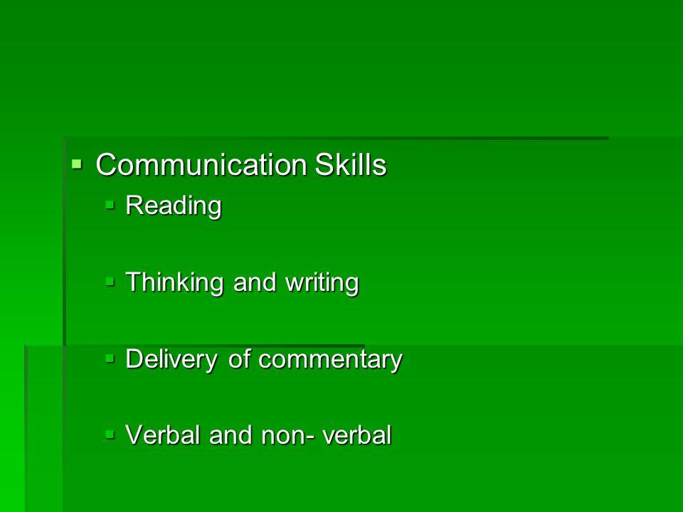 Communication Skills Reading Thinking and writing
