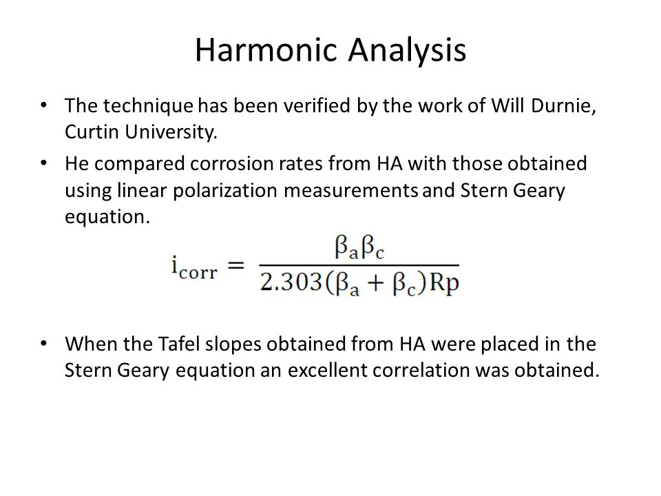 Harmonic Analysis The technique has been verified by the work of Will Durnie, Curtin University.
